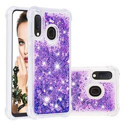 Dynamic Liquid Glitter Sand Quicksand Star TPU Case for Samsung Galaxy A20e - Purple