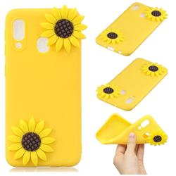 Yellow Sunflower Soft 3D Silicone Case for Samsung Galaxy A20e