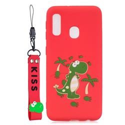 Red Dinosaur Soft Kiss Candy Hand Strap Silicone Case for Samsung Galaxy A20e