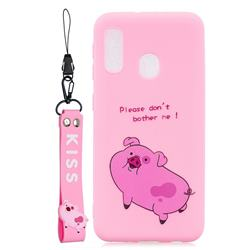 Pink Cute Pig Soft Kiss Candy Hand Strap Silicone Case for Samsung Galaxy A20e