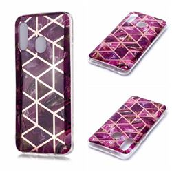 Purple Rhombus Galvanized Rose Gold Marble Phone Back Cover for Samsung Galaxy A20e