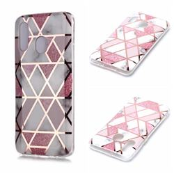 Pink Rhombus Galvanized Rose Gold Marble Phone Back Cover for Samsung Galaxy A20e