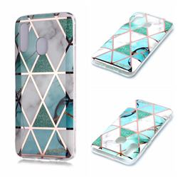 Green White Galvanized Rose Gold Marble Phone Back Cover for Samsung Galaxy A20e