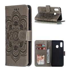 Intricate Embossing Datura Solar Leather Wallet Case for Samsung Galaxy A20e - Gray