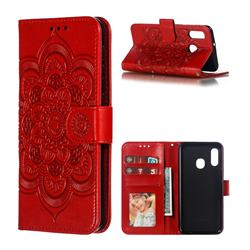 Intricate Embossing Datura Solar Leather Wallet Case for Samsung Galaxy A20e - Red