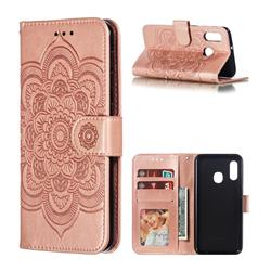 Intricate Embossing Datura Solar Leather Wallet Case for Samsung Galaxy A20e - Rose Gold