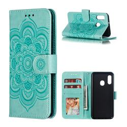 Intricate Embossing Datura Solar Leather Wallet Case for Samsung Galaxy A20e - Green