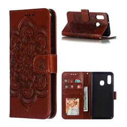 Intricate Embossing Datura Solar Leather Wallet Case for Samsung Galaxy A20e - Brown