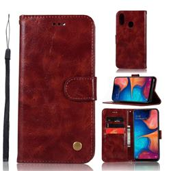 Luxury Retro Leather Wallet Case for Samsung Galaxy A20e - Wine Red