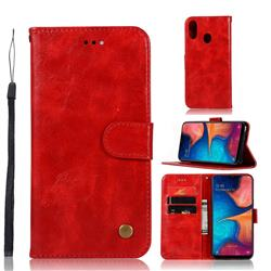 Luxury Retro Leather Wallet Case for Samsung Galaxy A20e - Red