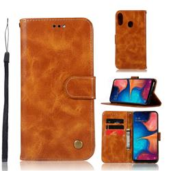 Luxury Retro Leather Wallet Case for Samsung Galaxy A20e - Golden