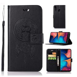 Intricate Embossing Owl Campanula Leather Wallet Case for Samsung Galaxy A20e - Black
