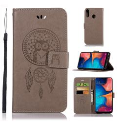 Intricate Embossing Owl Campanula Leather Wallet Case for Samsung Galaxy A20e - Grey
