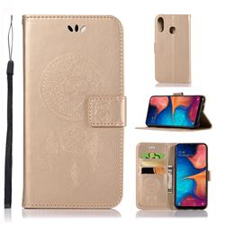 Intricate Embossing Owl Campanula Leather Wallet Case for Samsung Galaxy A20e - Champagne