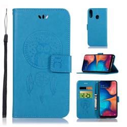 Intricate Embossing Owl Campanula Leather Wallet Case for Samsung Galaxy A20e - Blue