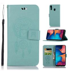 Intricate Embossing Owl Campanula Leather Wallet Case for Samsung Galaxy A20e - Green
