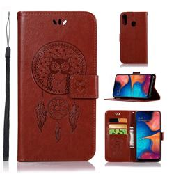 Intricate Embossing Owl Campanula Leather Wallet Case for Samsung Galaxy A20e - Brown