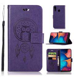 Intricate Embossing Owl Campanula Leather Wallet Case for Samsung Galaxy A20e - Purple