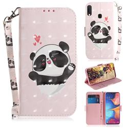 Heart Cat 3D Painted Leather Wallet Phone Case for Samsung Galaxy A20e