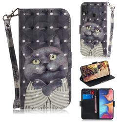 Cat Embrace 3D Painted Leather Wallet Phone Case for Samsung Galaxy A20e