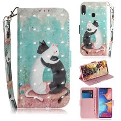 Black and White Cat 3D Painted Leather Wallet Phone Case for Samsung Galaxy A20e