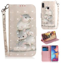 Three Squirrels 3D Painted Leather Wallet Phone Case for Samsung Galaxy A20e