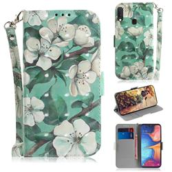 Watercolor Flower 3D Painted Leather Wallet Phone Case for Samsung Galaxy A20e