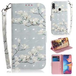 Magnolia Flower 3D Painted Leather Wallet Phone Case for Samsung Galaxy A20e