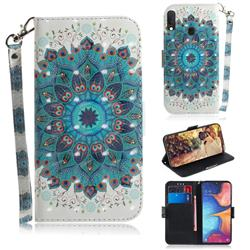 Peacock Mandala 3D Painted Leather Wallet Phone Case for Samsung Galaxy A20e