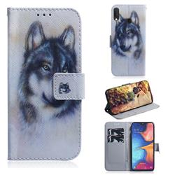Snow Wolf PU Leather Wallet Case for Samsung Galaxy A20e
