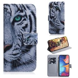 White Tiger PU Leather Wallet Case for Samsung Galaxy A20e