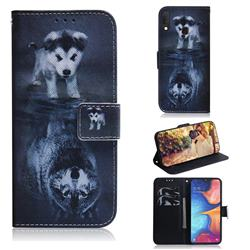 Wolf and Dog PU Leather Wallet Case for Samsung Galaxy A20e