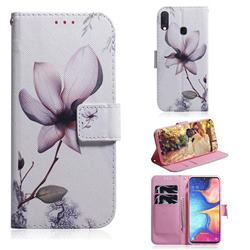 Magnolia Flower PU Leather Wallet Case for Samsung Galaxy A20e