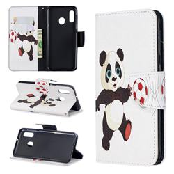 Football Panda Leather Wallet Case for Samsung Galaxy A20e