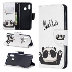 Hello Panda Leather Wallet Case for Samsung Galaxy A20e
