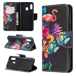 Flowers Flamingos Leather Wallet Case for Samsung Galaxy A20e