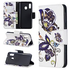 Butterflies and Flowers Leather Wallet Case for Samsung Galaxy A20e