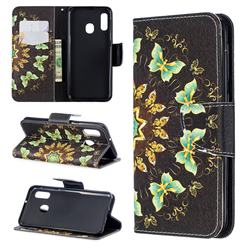 Circle Butterflies Leather Wallet Case for Samsung Galaxy A20e