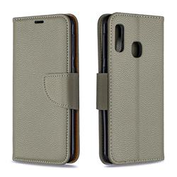 Classic Luxury Litchi Leather Phone Wallet Case for Samsung Galaxy A20e - Gray