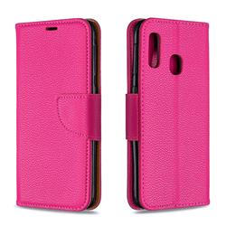 Classic Luxury Litchi Leather Phone Wallet Case for Samsung Galaxy A20e - Rose