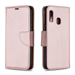 Classic Luxury Litchi Leather Phone Wallet Case for Samsung Galaxy A20e - Golden