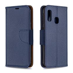 Classic Luxury Litchi Leather Phone Wallet Case for Samsung Galaxy A20e - Blue