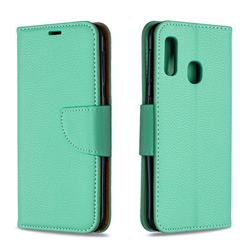 Classic Luxury Litchi Leather Phone Wallet Case for Samsung Galaxy A20e - Green