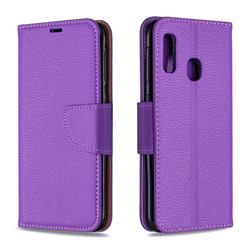 Classic Luxury Litchi Leather Phone Wallet Case for Samsung Galaxy A20e - Purple