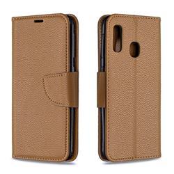 Classic Luxury Litchi Leather Phone Wallet Case for Samsung Galaxy A20e - Brown