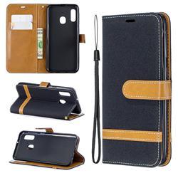 Jeans Cowboy Denim Leather Wallet Case for Samsung Galaxy A20e - Black