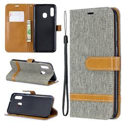 Jeans Cowboy Denim Leather Wallet Case for Samsung Galaxy A20e - Gray
