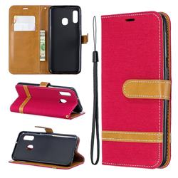 Jeans Cowboy Denim Leather Wallet Case for Samsung Galaxy A20e - Red