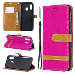 Jeans Cowboy Denim Leather Wallet Case for Samsung Galaxy A20e - Rose