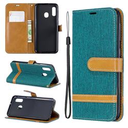 Jeans Cowboy Denim Leather Wallet Case for Samsung Galaxy A20e - Green